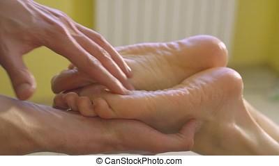procedure, voetjes, masseren, in, de, spa, salon