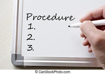 Procedure written on whiteboard