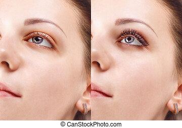 procedure., yeux, extension, comparaison, cil, after., femme...