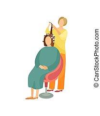 Procedures in Hairdressing Salon Cartoon Banner