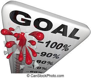 procent, postęp, do, cele, termometr, wzrost, powodzenie