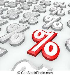 procent, -, symbolen, koers, groei, belangstelling, ...