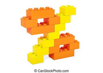 procent, symbool, van, plastic, bouwstenen, 3d, vertolking