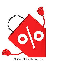 procent, verkoop, zak, rood, golf