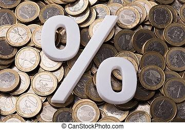 procentdel underskriv, på, euro, mønter