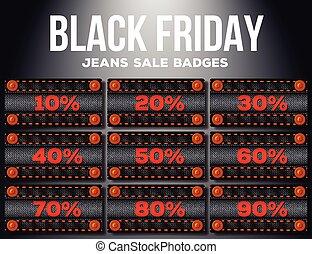 procenten, fredag, svart, försäljning, etikett