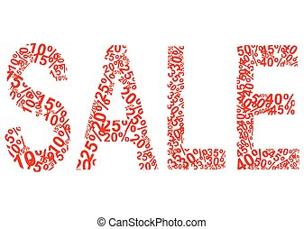 procento, nápis, prodej