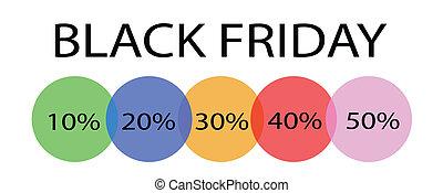 procentsatser, fredag, etikett, rabatt, svart, baner