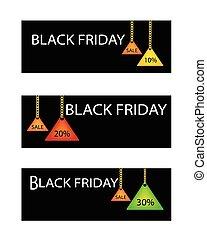 procentsatser, fredag, etikett, rabatt, svart, befordran