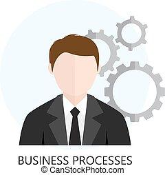proces, analytics, plat, zakelijk, pictogram