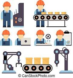 proces, fabriekshal, vector, illustratie