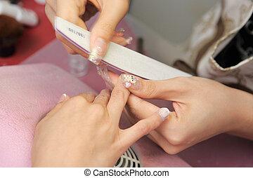 proces, manicure, samicza ręka
