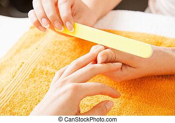 proces, manicure, samicze ręki
