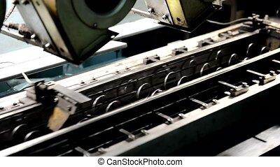 proces, metaal, fabriek, vering, indoors., het produceren, ...