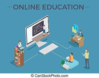proces, poster, vector, mal, online onderwijs