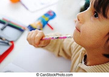 proces, schattig, leren, kind