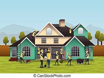 &, proces, woning, concept., -, illustratie, vector, ontwerp, woongebied, bouwsector, gebouw
