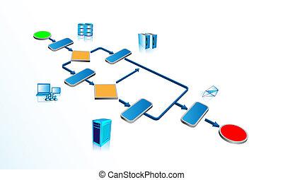 proces, zakelijk, infographics