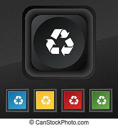 procesamiento, icono, símbolo., conjunto, de, cinco, colorido, elegante, botones, en, negro, textura, para, su, design.