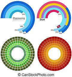 procesamiento, rueda, gráfico, conjunto