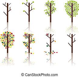 proceso, árbol, imagen, vector, -