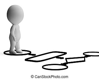 proceso, actuación, carácter, organigrama, o, procedimiento, 3d