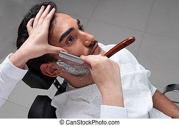proceso, barbería, viruta, Primer plano, cara