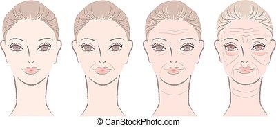 proceso de envejecimiento, de, mujer hermosa