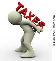 proceso de llevar, 3d, impuestos, hombre