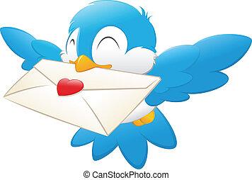 proceso de llevar, amor, caricatura, carta, pájaro
