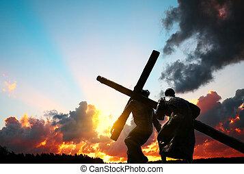 proceso de llevar, cristo, cruz