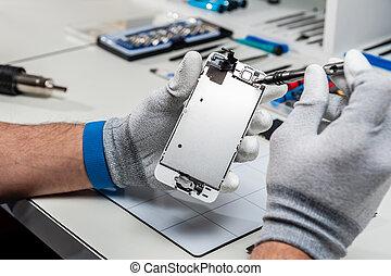 proceso, de, teléfono móvil, reparación