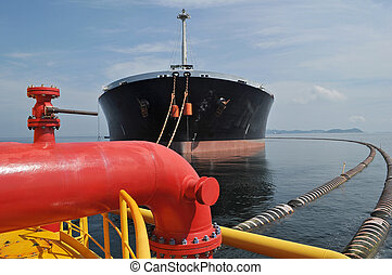 proceso, en, aceite y gas, transferencia, plataformas