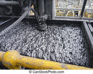 proceso, flotación, metal, espuma, extraer