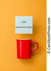 proceso, foto, préstamo, pegajoso, cheque, manufacturing., ...