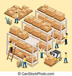 proceso, logístico, trabajando