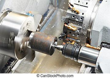 proceso, mecanizando, metal, blanco