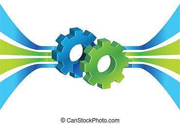 proceso, movimiento, engranajes, empresa / negocio, líneas