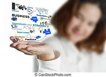 proceso, mujer de negocios, diagrama, empresa / negocio, ...