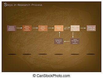 proceso, paso, conjunto, ocho, investigación