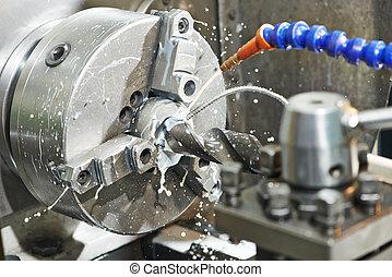 proceso, primer plano, mecanizando, metal, taladro