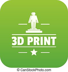 Process 3d printing icon green vector