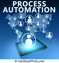 Process Automation illustration with tablet computer on blue...