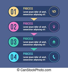 Process business infographic chart with steps going one after another