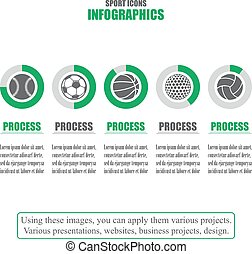 Process chart. Business data. Set of sport icons. Vector illustration
