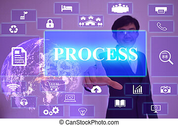 PROCESS concept  presented by  businessman touching on  virtual  screen ,image element furnished by NASA