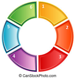 Process cycle business diagram - six Blank numbered cycle...