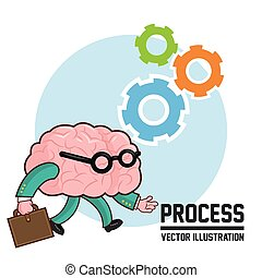 Process design. Colorfull illustration. Cartoon icon