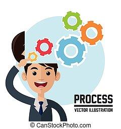 Process design. Colorfull illustration. Cartoon icon