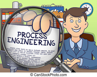 Process Engineering through Magnifier. Doodle Concept.